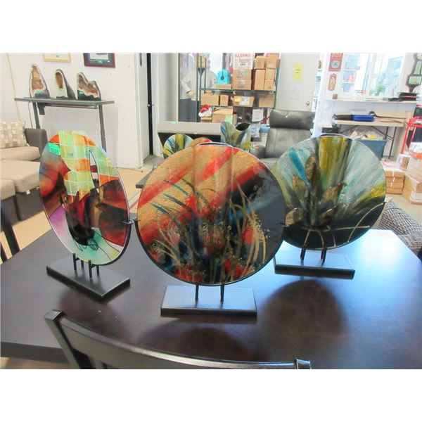 3 New Large Art Glass Vases on Stands