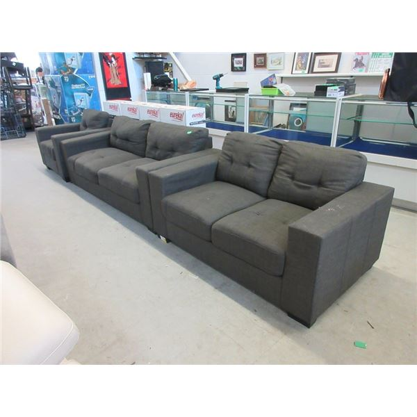 Grey Fabric Sofa, Loveseat and Arm Chair