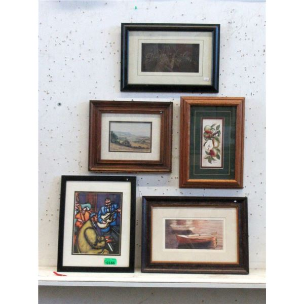 5 Assorted Well Framed Prints