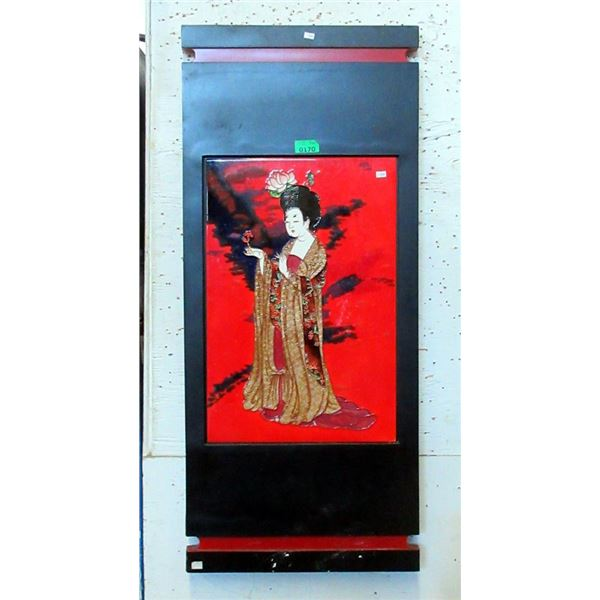 Large Wood Framed Asian Goddess Ceramic Tile