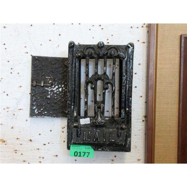 Vintage Metal Mail Slot with View Door