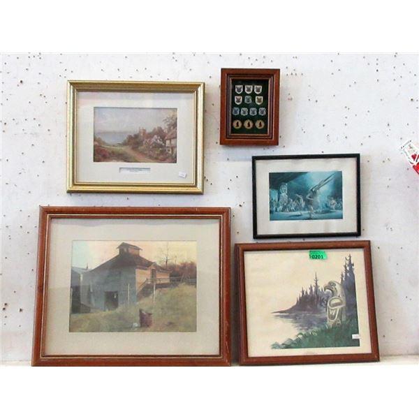 4 Framed Prints & 1 Framed Memorabilia