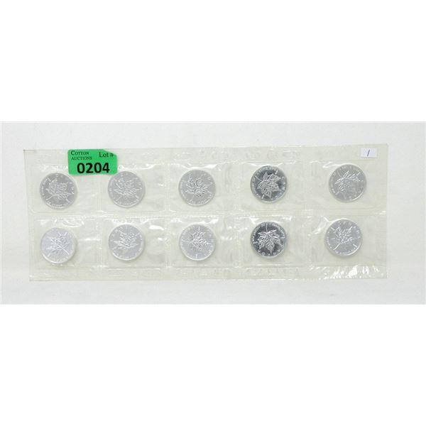 10 x 1 Oz. CanadaMaple Leaf .9999 Silver Coins