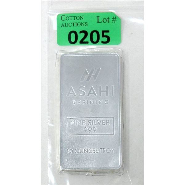 10 Oz. Ashai Refining .999 Silver Bar