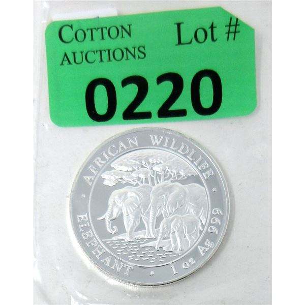 1 Oz. African Wildlife Elephant .999 Silver Coin