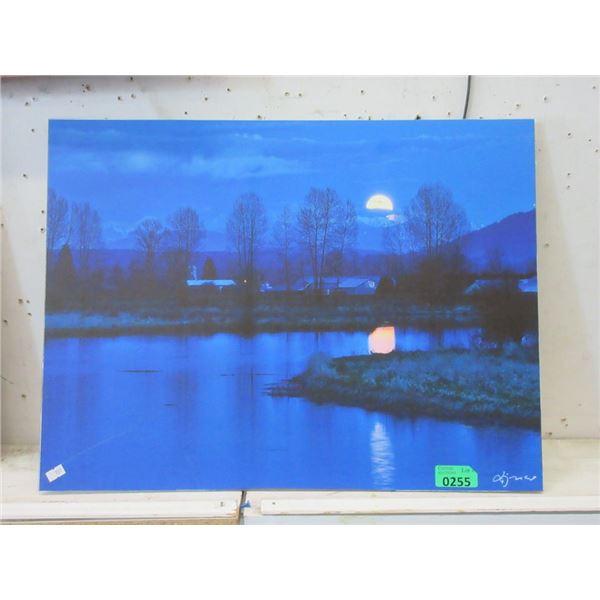 "New 24"" x 18"" Print on Board - Night Lake View"