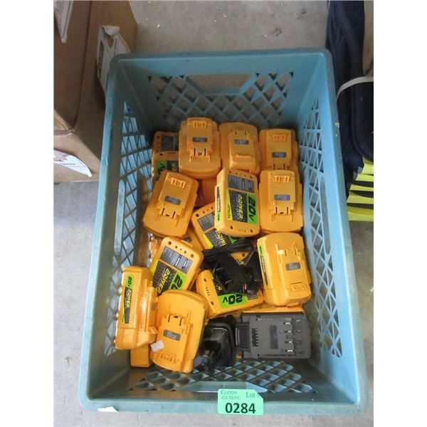 Crate of 20V Power Drive Tool Batteries