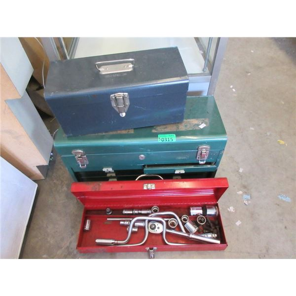 3 Metal Tool Boxes and Contents