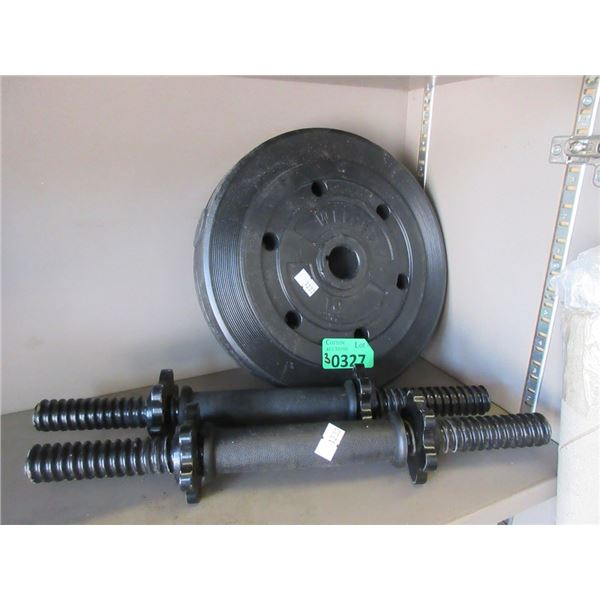 2 Dumbbell Bars & One 10 LB Weight