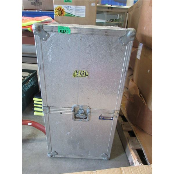 "Metal Shipping Crate - 15"" x 17"" x 32"" tall"