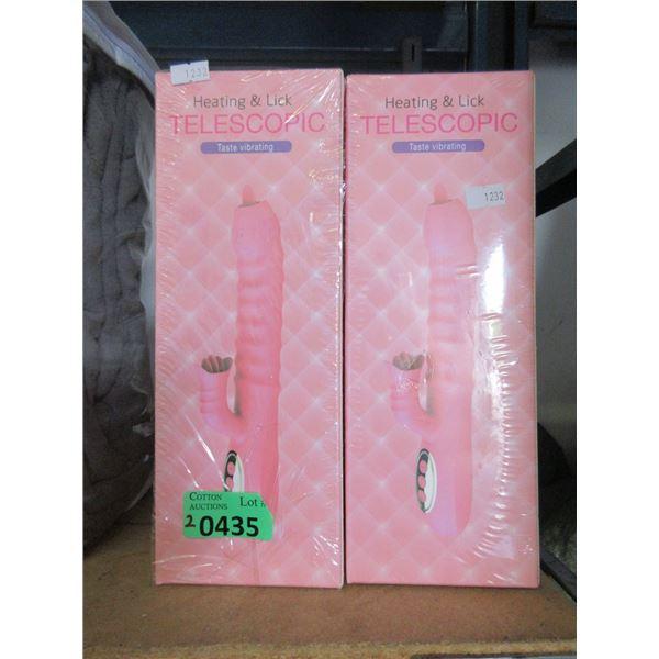 2 New Heat & Lick Telescopic Vibrators