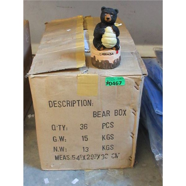 """Case of 36 Resin 6"""" Tall Bear Trinket Boxes"""