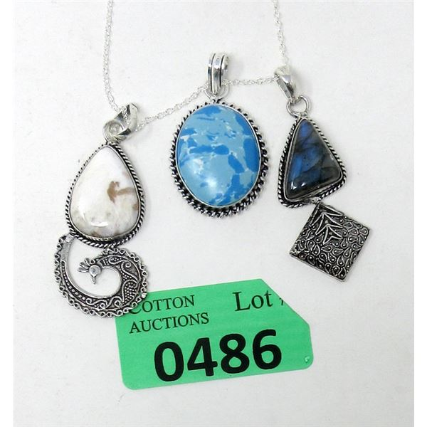 """3 Gemstone Pendants and One 18"""" Chain"""
