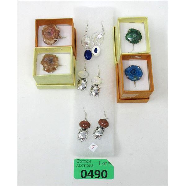 3 New Pairs of Gemstone Earrings & 4 Druzy Rings