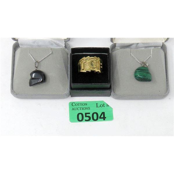 New TCB Elvis Ring & 2 Gemstone Skull Necklaces