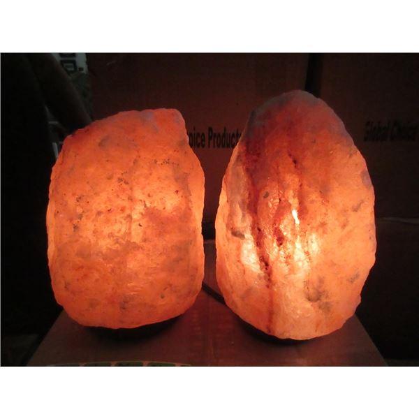 2 New Medium Himalayan Salt Lamp- with Bulb & Cord