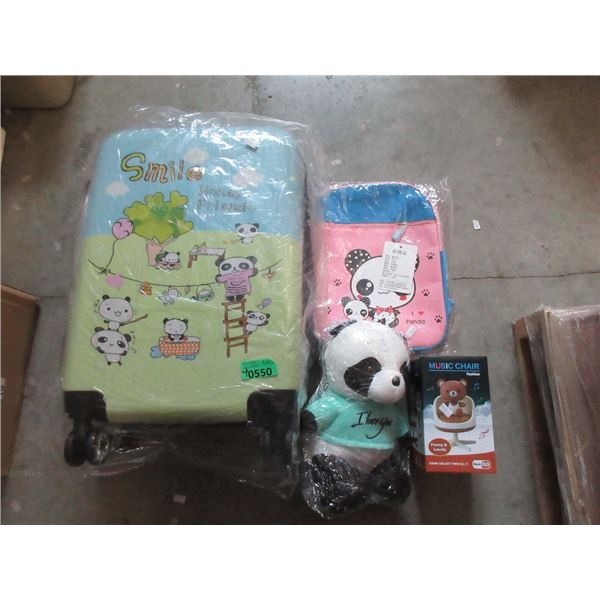 Child's New Suitcase, Bear, Backpack and Toy