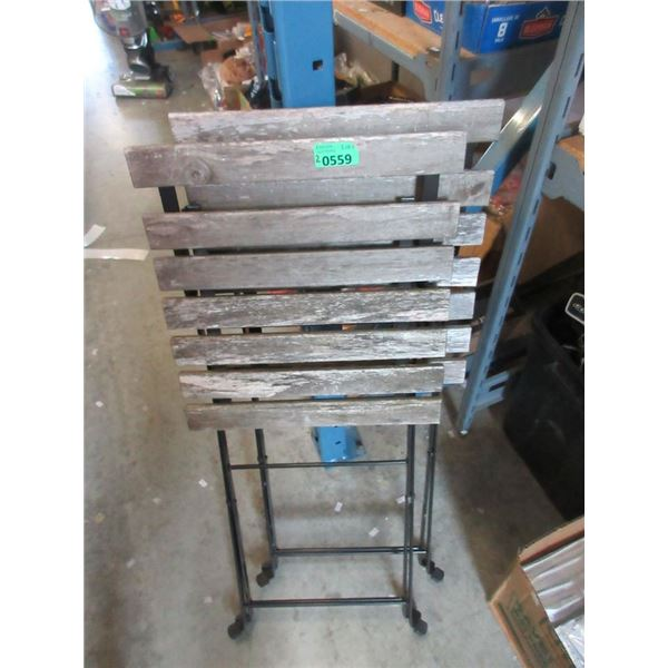 2 Wood Topped Folding End Tables