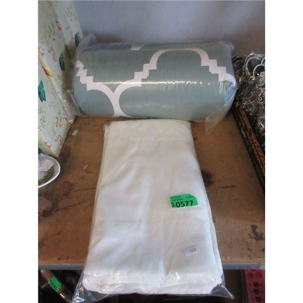 "White Sheet & New 60"" x 90"" Comforter"