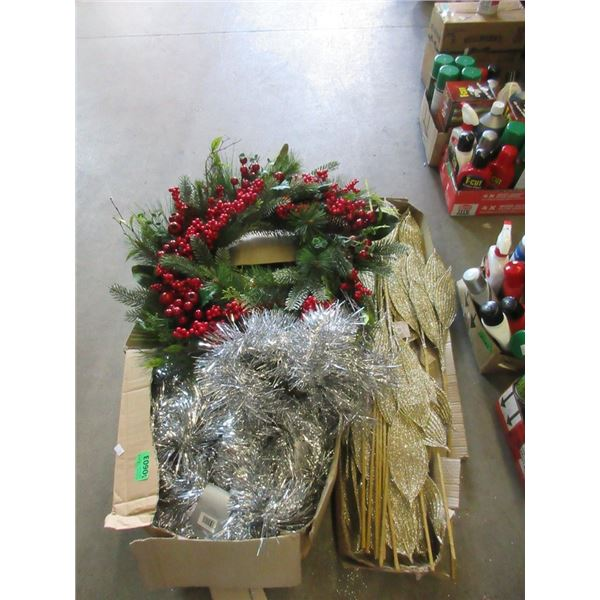Wreath and 2 Boxes of Holiday Décor