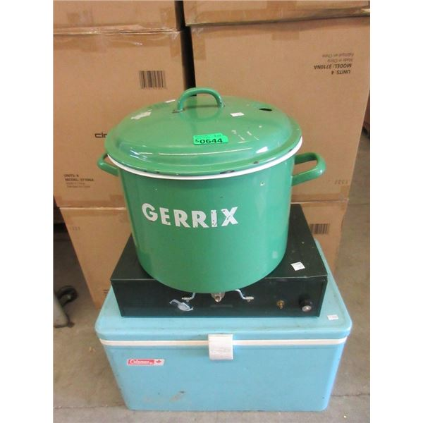 Cooler, Camp Stove, and Canning Pot