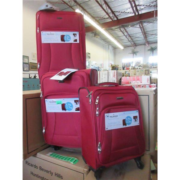 New Ricardo Red 3 Piece Light Weight Luggage Set