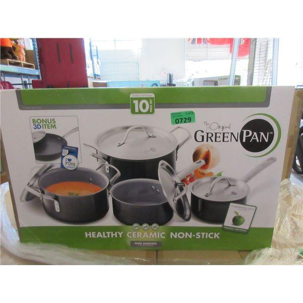 New 10 Piece Original Green Pan Cookware Set