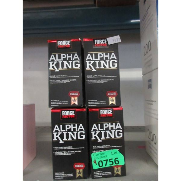 4 Bottles of 30 Force Factor Alpha King Capsules