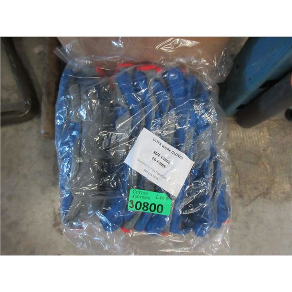 30 Pairs of New Size L Latex Work Gloves