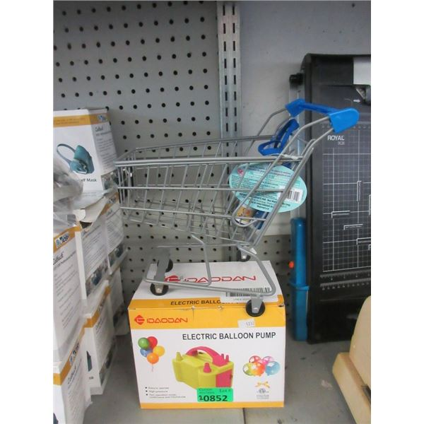 Miniature Shopping Cart & Electric Balloon Pump