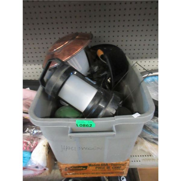 Coleman Camp Stove & Tote of Lanterns and More