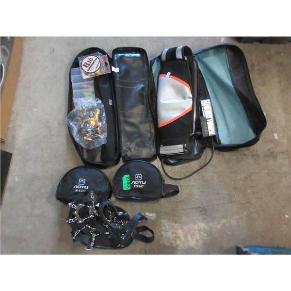 Fishing Reel, 3 Ice Cleat Sets & Electronic Belt