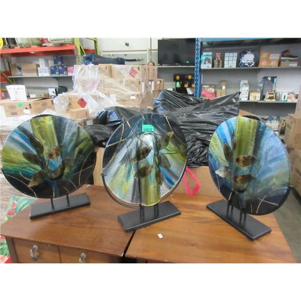 """3 New Art Glass Vases on Stands - 16"""" x 17"""" tall"""