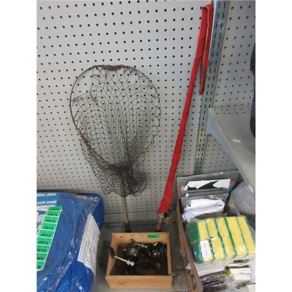 Fishing Rod, 2 Reels and a Fishing Net