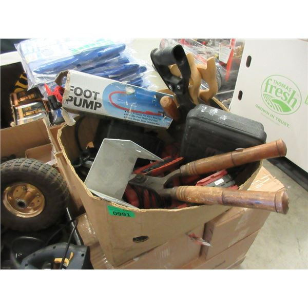 Box of Hand Saws, Drills and More