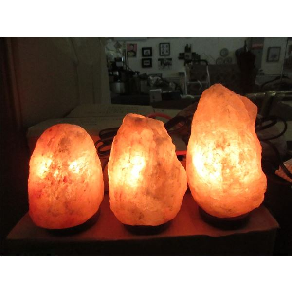 "3 New 8"" Himalayan Salt Lamps - With Bulbs & Cords"