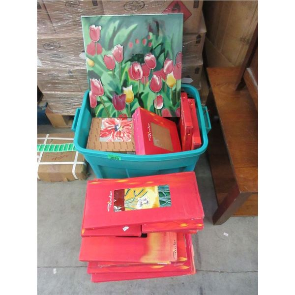 1 Tote & 9 Loose Assorted New Glazed Ceramic Tiles
