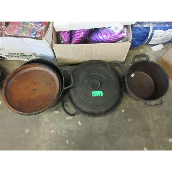3 Cast Iron Pots - 2 With Lids