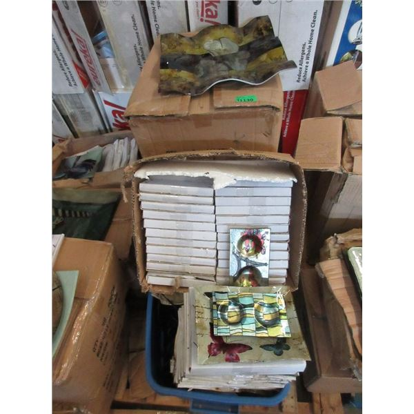 1 Tote & 3 Boxes of New Art Glass Plates