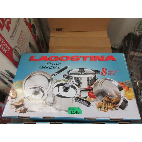 New Lagostina 8 Pc Stainless Steel Cookware Set