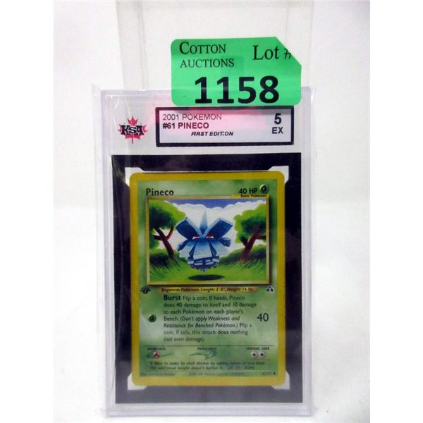 Graded Pokemon #61 Pineco 1st Edition Card