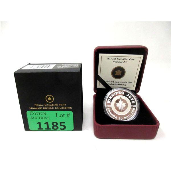 "2011 .9999 Silver $20 ""Winnipeg Jets"" Coin"