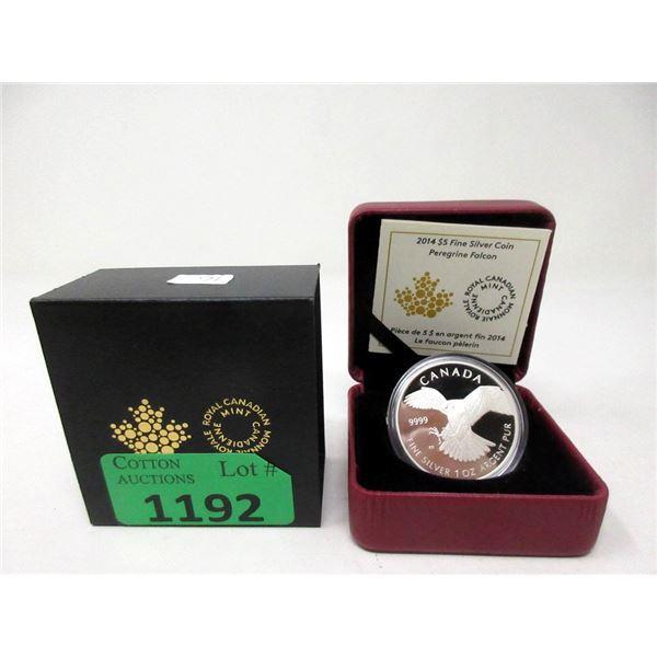 """2014 Canada  Fine Silver """"Peregrine Falcon Coin"""