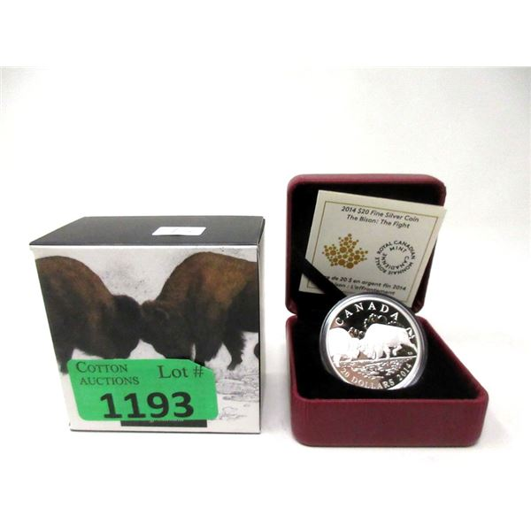 2014 Canadian Fine Silver $20 Bison Coin