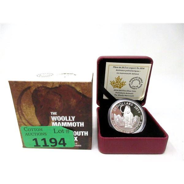 "2014 Canada Fine Silver ""Woolly Mammoth"" $20 Coin"