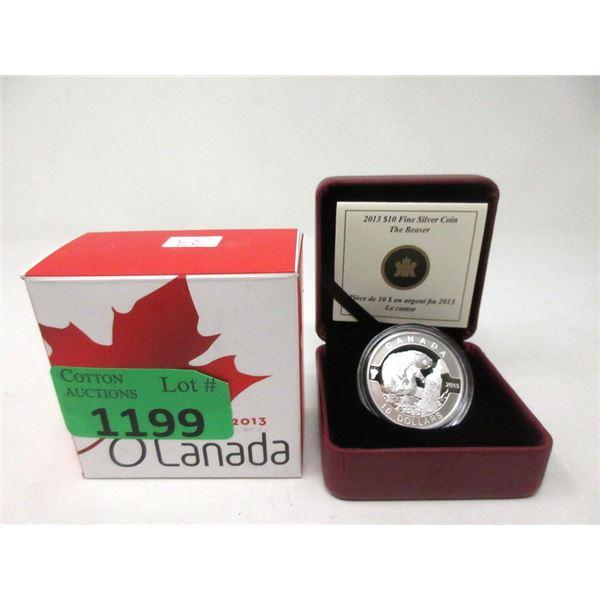 1/2 Oz. 2013 Canada Fine Silver $10 Beaver Coin