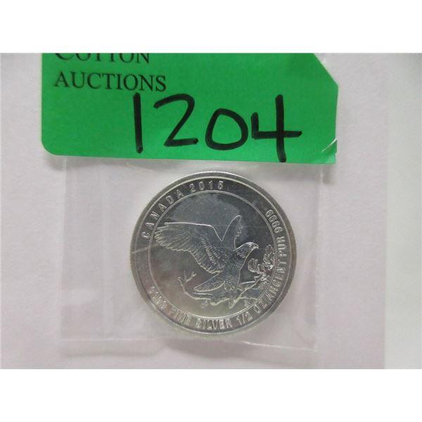 1/2 Oz. 2015 Canada Fine Silver Bald Eagle Coin