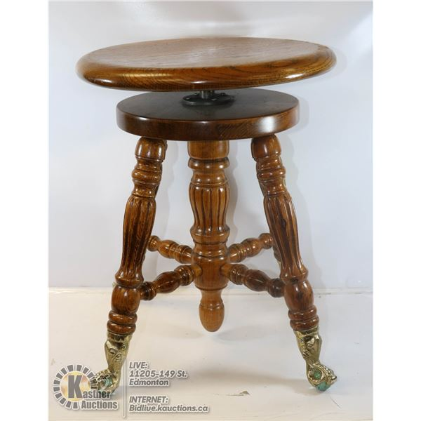 ANTIQUE CLAWFOOT PIANO STOOL