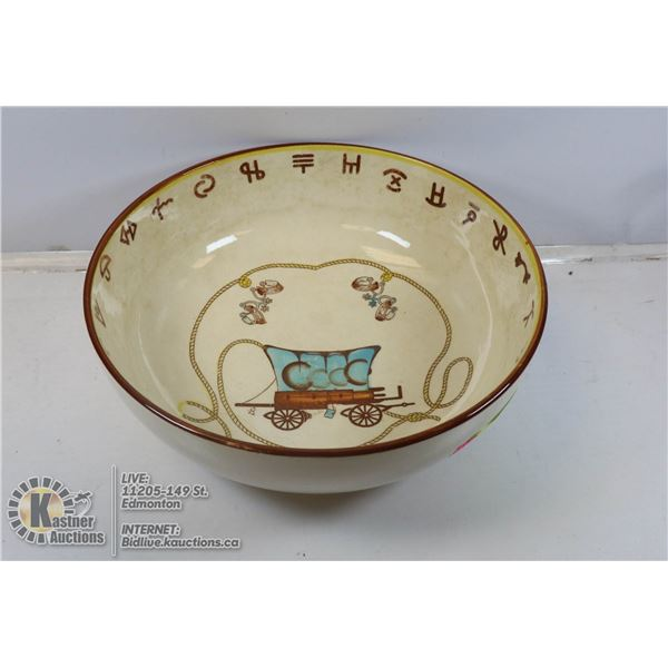 1950S WESTERN THEMED SERVING BOWL WITH BRANDS