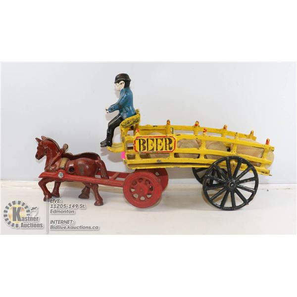 VINTAGE CAST METAL BEER WAGON WITH DRIVER